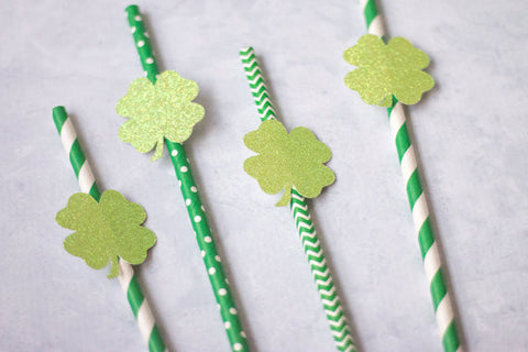 Green Dot Stripe Chevron Paper Straw with Glitter Shamrock Clover Paper Straws for St. Patrick's Day