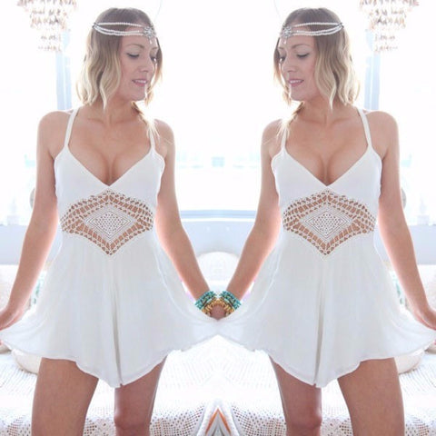 Fresh Lily V-Neck Chiffon Lace Beach Romper