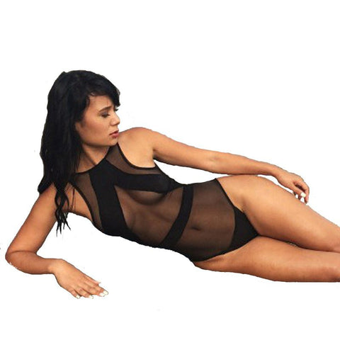 Black Mesh Sheer One Piece Transparent Bikini