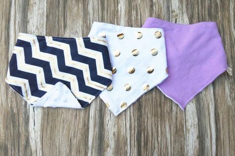 Navy Gold Wave Baby Bandana Bib Set of 3