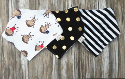 Monkey Baby Bandana Bib Set of 3