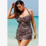 Animal Print Two-Piece Halter Body-Con Type Bikini (Plus Size)