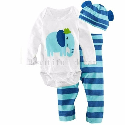 Baby Cotton Elephant Print O-Neck Bodysuit Blue Striped Pants and Hat Set