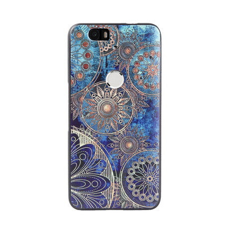 Blue Tribal Flower Print Huawei Nexus 6P Back Cover Case