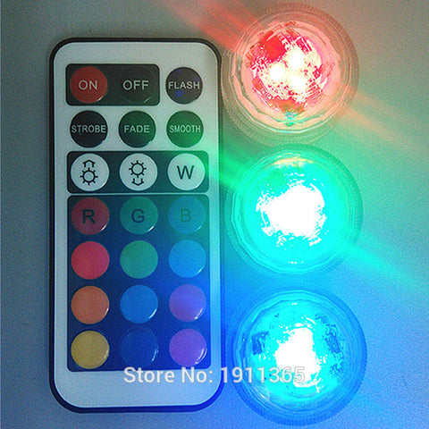 10 Pcs. Remote Control Submersible LED Party Mini Light With Battery For Any Occasion
