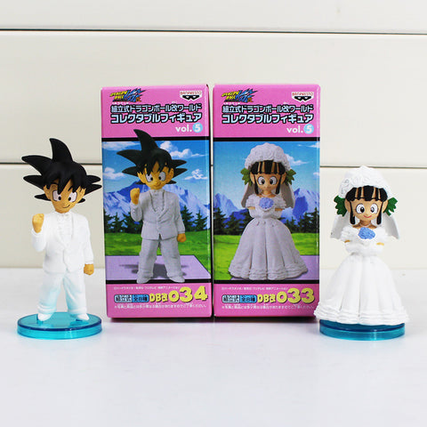 Dragon Ball Son Goku and Chichi Wedding 2Pcs/Set 9cm PVC Action Figure Great Gift For Friend With Color Box