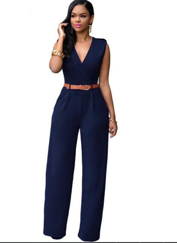 Ebony Elegant V-Neck Long Pants Jumpsuit
