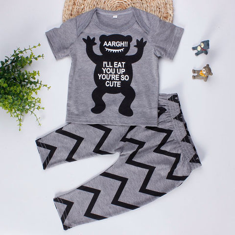 Aargh! I'll Eat You Up Print Baby Girl/Boy Cotton Short Sleeve and Pants Set