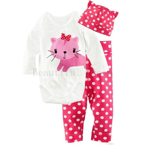 Baby Cotton Kitten Print O-Neck Bodysuit Polka Dots Pants and Hat Set