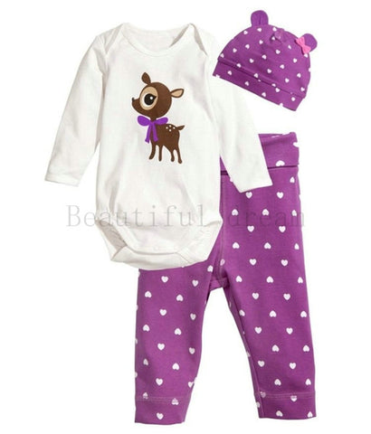Baby Cotton Deer Print O-Neck Bodysuit Purple Polka Dots Pants and Hat Set