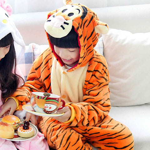 Angry Tiger Warm Soft Cosplay Halloween Costume for Kids
