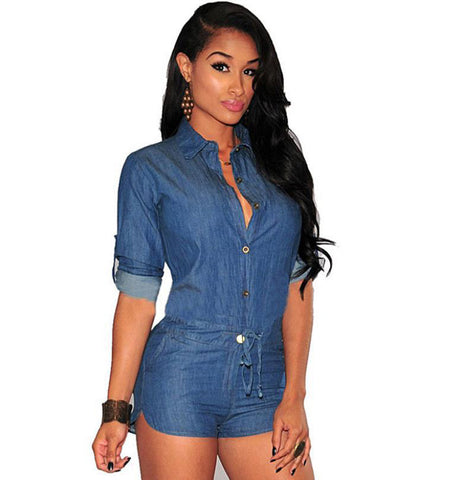 Blue Mist Middle Sleeve Denim Romper