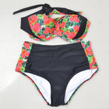 Piña Orange Halter High Waist Bikini (Plus Size)