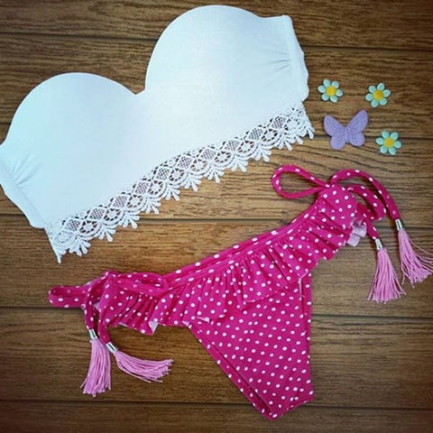 Alondra Plain White Bra And Pink Polka Dot Swimwear Set - Simply Paris Boutique