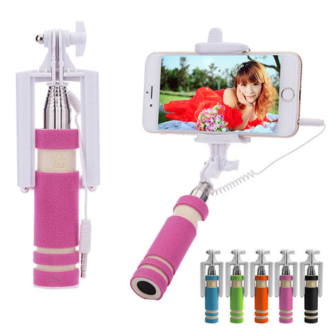EEC Mini Folding Mobile Phone Wired Selfie Sticks - Simply Paris Boutique