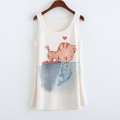 Naomi Sleeveless Cat and Fish Printed Top - Simply Paris Boutique