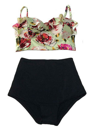 Rose Push Up High Waist Bikini (Plus Size)