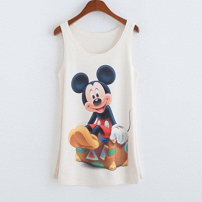 Kennedy Sleeveless Mickey Mouse Printed Top - Simply Paris Boutique