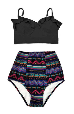 Lala Ethnic Pattern Push Up High Waist Bikini (Plus Size) - Simply Paris Boutique