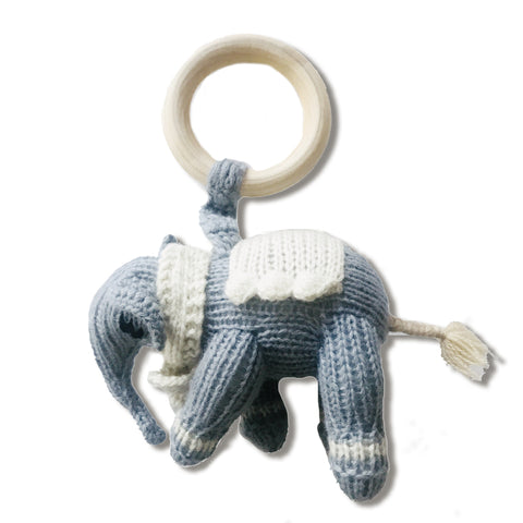Elephant Teether, Blue/Grey