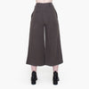 Linen Wide Legged Cropped Trouser Deep Olive