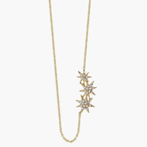 Pave Triple Star Necklace