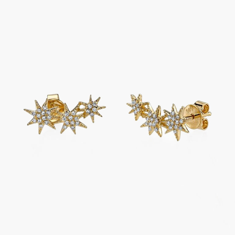 Pave Triple Star Earring