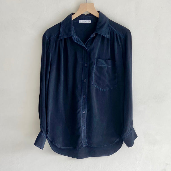 Cupro Oversized Pocket Shirt Navy