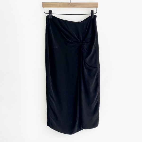 Cupro Twist Front Skirt Black