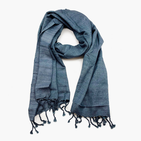 Wool/Silk Scarf Charcoal Blue