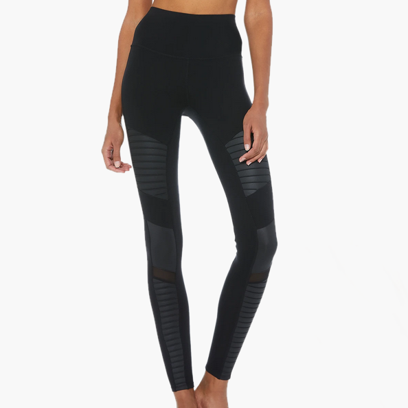 High Waist Moto Legging Black/Black Glossy