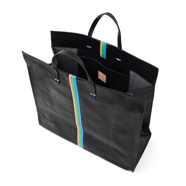 Simple Tote Black W/ Green, Blue and Pink
