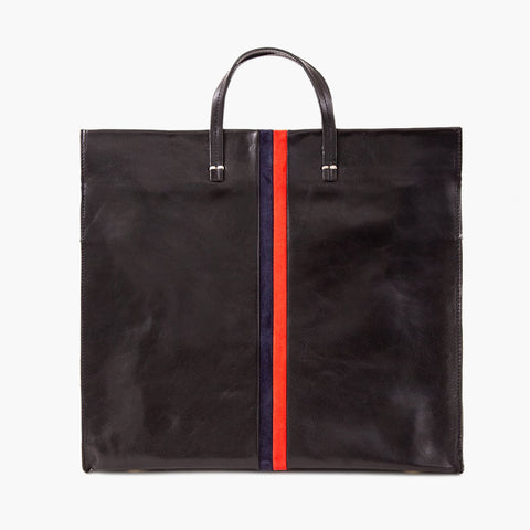Simple Tote Black with navy/red stripes