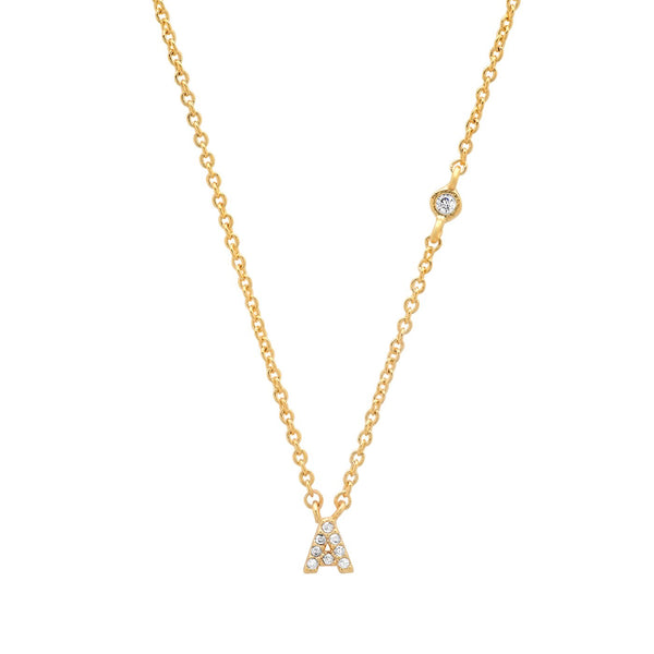 A Gold Simple Chain Necklace with one CZ