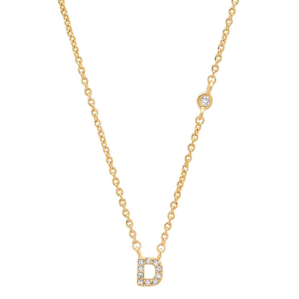 D Gold Simple Chain Necklace with one CZ