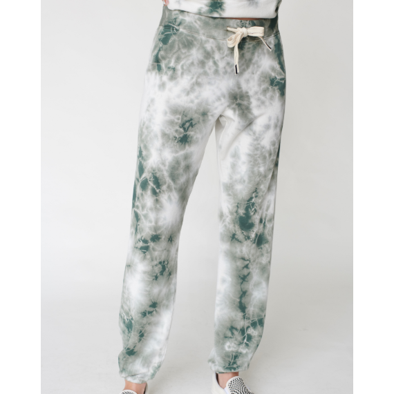 Viscose Fleece Pant Tie Dye Army/White