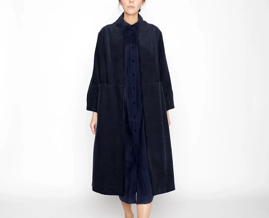 Open Fall Coat Corduroy Midnight Blue