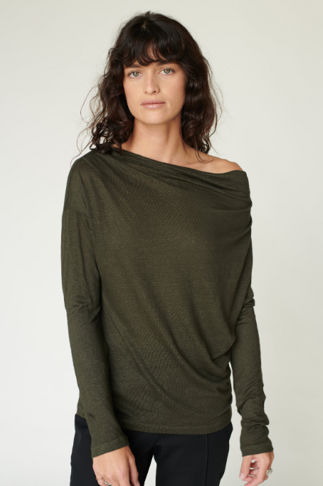 Linen Jersey Cowl Neck Top Army