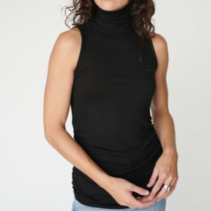 Rib Spandex Turtle Neck Shirred Tank Black