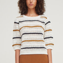 Malo Sweater Ivory/Blk/Tobacco