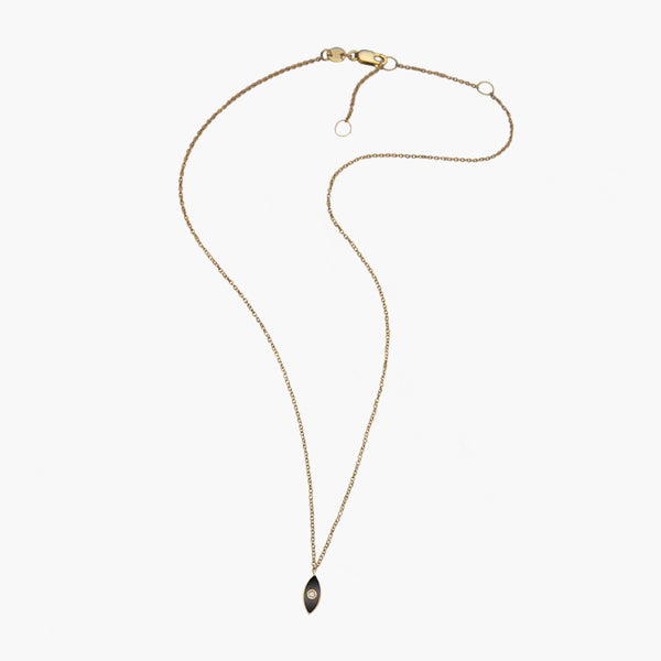 Mini Nazar Enamel Necklace Black Gold Vermeil
