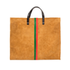 Simple Tote Camel Suede w/ Parrot Green & Blood Orange