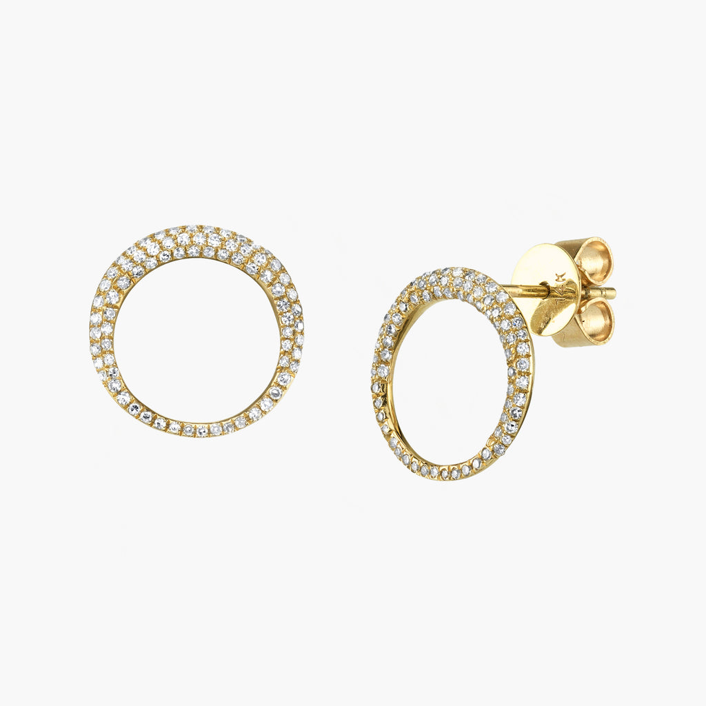 Pave Small Balloon Earring  (Pair) in 14K Yellow Gold