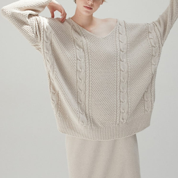 Cable Knit Jumper Taupe