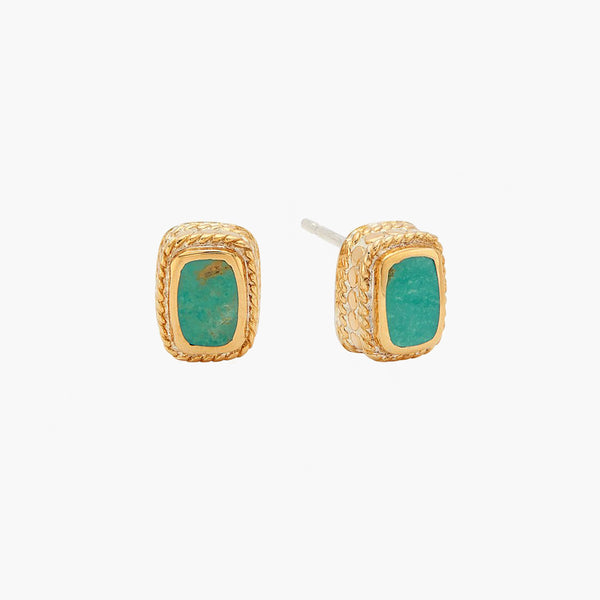 Turquoise Cushion Stud Earring