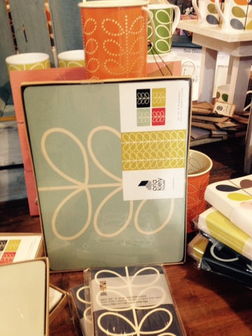 Orla Kiely place mats in duck egg blue linear tree