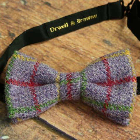 Orwell & Brown Tweed Bow Tie in Mixed Lavender