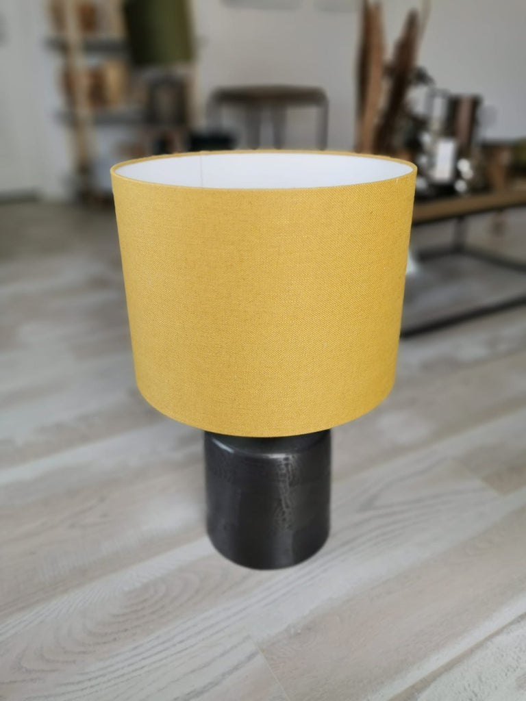 Mustard Shade Antique Lead Base Lamp