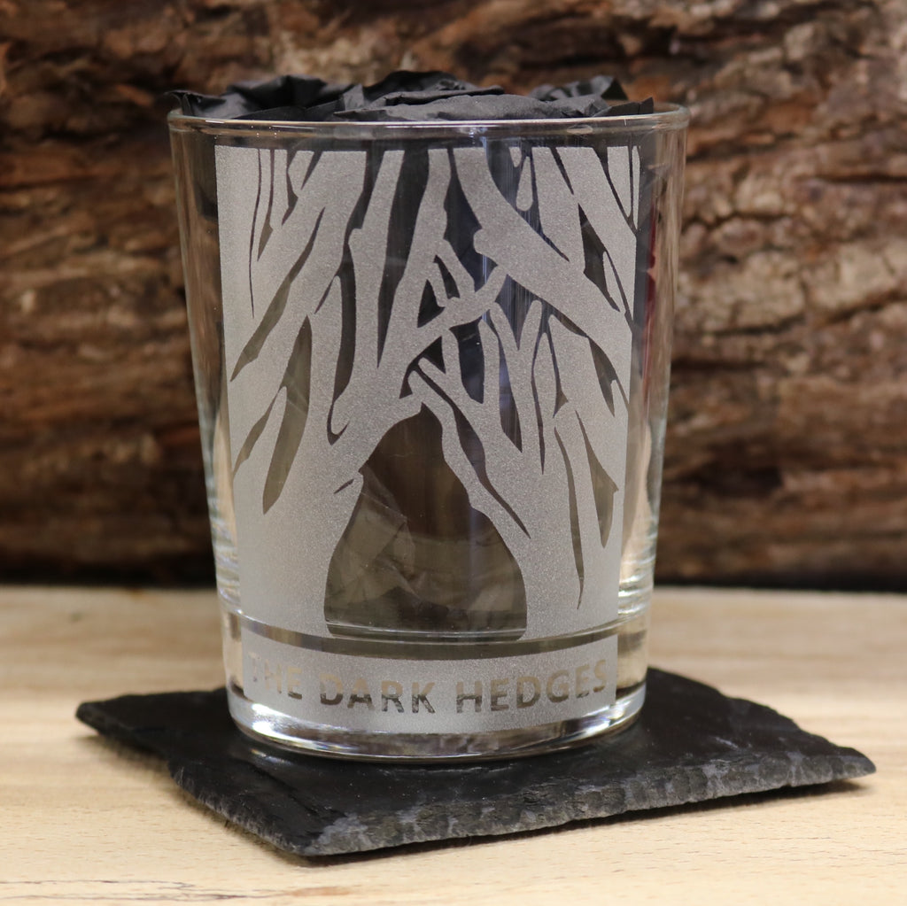 The Dark Hedges Whiskey Glass and Coaster Set