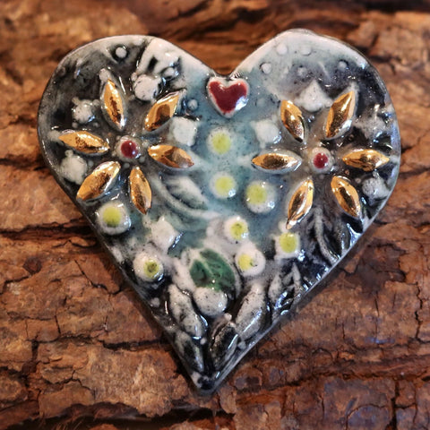 Helen Shearer Guilded Heart Brooch
